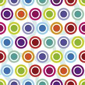 stock photo of lsd  - Colourful seamless retro circle pattern in vector - JPG