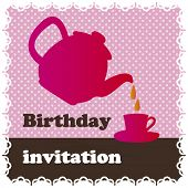 stock photo of tea party  - Birthday high tea invitation card design in vector - JPG