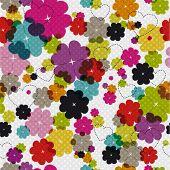 Patrón de flores de verano fresco colorido en vector