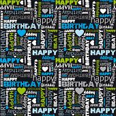 Happy birthday seamless background pattern in vector