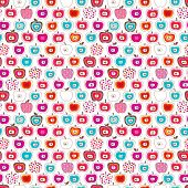 Seamless cute retro apple pattern background in vector