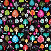 Seamless forrest spring and autumn tree pattern background in vector