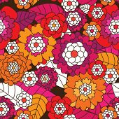 Seamless retro flower pattern background in vector
