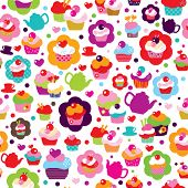Seamless cute cup cake and tea pot background pattern in vector