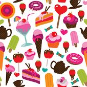 Seamless party candy ice cream and cake background pattern in vector