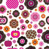 Seamless retro pink flowers and apples pattern background in vector