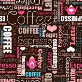 I love all sorts of coffee seamless background typography tea pattern  in vector