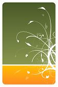 Hunter Green And Orange Floral Design Card