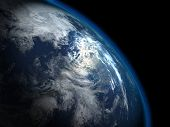 stock photo of planet earth  - The beautiful planet Earth from the space - JPG