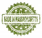 Made In Massachusetts Stamp Seal Watermark With Dirty Style. Green Vector Rubber Print Of Made In Ma poster