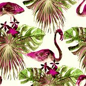 Flamingo Pattern. Tropical Summer Green Red Print. Exotic Spring Textile Background With Birds. Fash poster