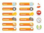 Orange website button set with icons