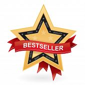 Bestseller promotional vector sign - gold star with red ribbon