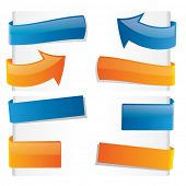 Orange and blue vector tags