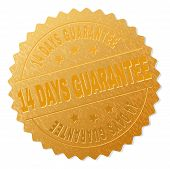 14 Days Guarantee Gold Stamp Seal. Vector Golden Medal Of 14 Days Guarantee Text. Text Labels Are Pl poster