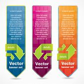 Vertical web style banners with green arrows and place for your text
