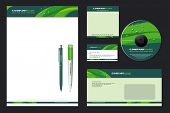 Corporate Identity Template Vector  with  green background - blank, card, pen, cd, note-paper, envel
