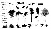 big collection of herbs trees plants nature silhouettes