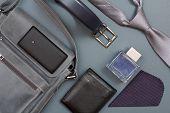 Leather Shoulder Bag For Men With Mobile Phone On It, Belt For Men, Black Purse, Cologne For Men, Ha poster