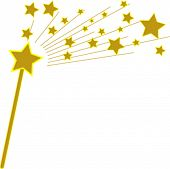 Vector Golden Magic Wand and Stars