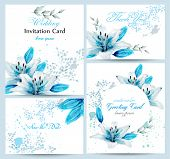 Blue Lily Watercolor Flower Blossom Card Set Vector. Vintage Greeting Poster, Wedding Invitation, Th poster
