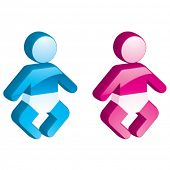 Vector Baby Boy & Girl - 3D Glossy Icon