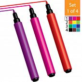Vector Coloring / Marker Pens (Set 1 of 4) Purple, Red & Magenta
