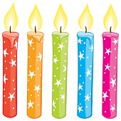 Vector colorful starry candles set. Gradient free illustration.