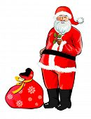 Standing Santa Claus with his bag