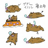 Hand-drawn Lazy Boars New Year Illustrations New Year Elements / Translation Of Japanese lazy Boar, poster