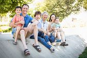 Chinese Grandparents, Mother, Caucasian Father and Mixed Race Children Portrait. poster