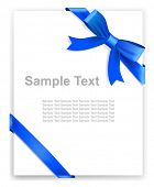 Greeting card or the certificate, blue tape and bow. Vector illustration.
