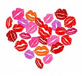 Heart of kisses for Valentine's Day. Vector image, no size limit.