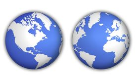 picture of world-globe  - two different views of world globe with shadow - JPG