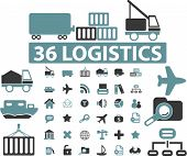 36 transport & logistics icons set, vector