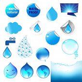 Water Symbol Big Set, Isolated On White Background, Vector Illustration