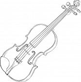 Contour Vector Drawing Illustration of Violin