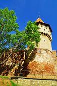 Defense wall and tower medieval construction in Sibiu, Trasylvania, Romania