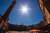 Main Square Of Siena Italy. Wide Angle View.