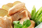 Cut roasted mouthfuls of skinless chicken breast with vegetables detail