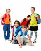 School aged children group with backpacks