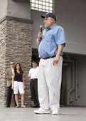 RIDGEFIELD PK, NJ-JULY 14: Famous 77 WABC radio host and dog lover Mark Levin speaks to an audience