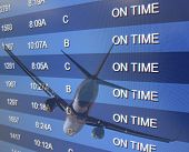 An airport On Time board listing arrivals and departures