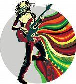 Reggae singer on the abstract background for design