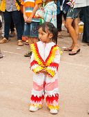 LOEI PROVINCE THAILAND-July 23 2012.: A little girl wear a Colorful clothe in the Ghost Festival.