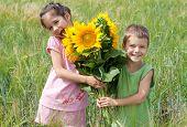 Dos niños con girasoles en un campo de trigo