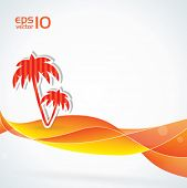 Abstract tropical vector background with palm trees and orange colors