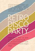 Retro disco party. Abstract flyer design template, vector, EPS10