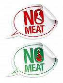 No meat stickers set in form of speech bubbles.