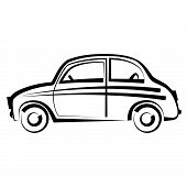 Car. freehand drawing. icon black and white